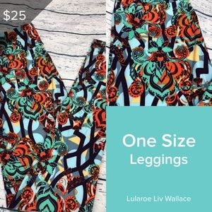 Lularoe Teal Tropical Print OS Leggings